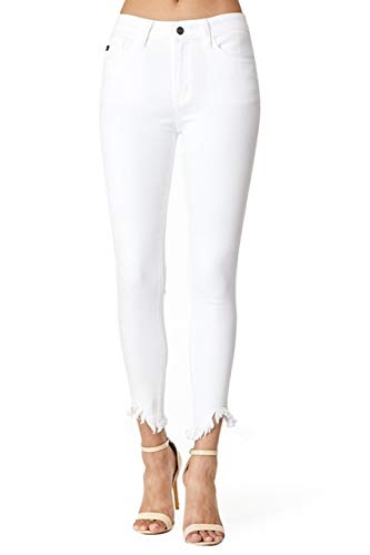 KanCan Jeans Baleria-Tincel Mid Rise Frayed Hem White Ankle Skinny Jeans KC7267WT (27/7)