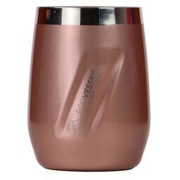 (EcoVessel Port Vacuum Insulated Stainless Steel Wine Glass/Whiskey Tumbler w/BPA Free Lid - 10 oz - Rose Gold …)