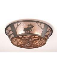 (Meyda Tiffany Custom Lighting 10015 Northwoods Moose on the Loose 4-Light Flush Mount, Antique Copper Finish and Silver Mica)