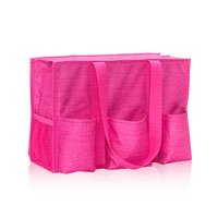 Cross Utility - Thirty One Zip Top Organizing Utility Tote 4451 Pink Crosshatch