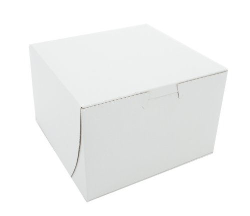 Southern Champion Tray 0909 Premium Clay Coated Kraft Paperboard White Non-Window Lock Corner Bakery Box, 6