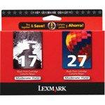Lexmark 10N0595 10N0595 (17, 27) Ink, 429 Page-Yield, 2/Pack, Black; Tri-Color