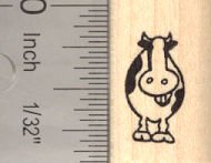 Tiny Grinning Cow Rubber Stamp