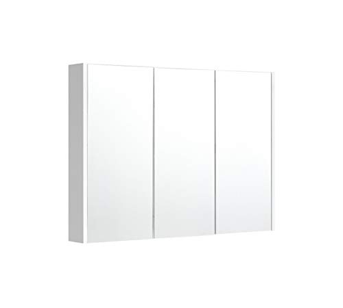 White 36 Inches Bathroom Wall Mount Mirrored Cabinet with Triple Door with -