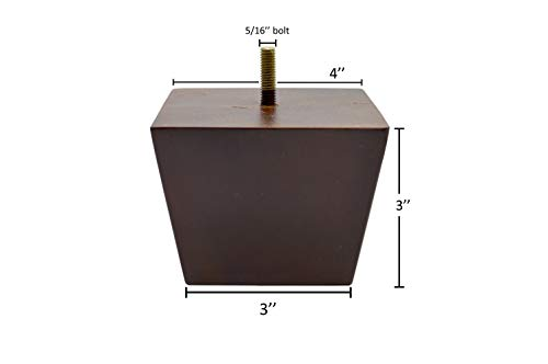 3 Inch Wood Furniture Legs Squared Tapered Finish, Set of 4. Great Sofa Legs with Mid-Century Modern Style, IKEA Conversion Kit Also Suitable for Coffee Table and Bed Legs.