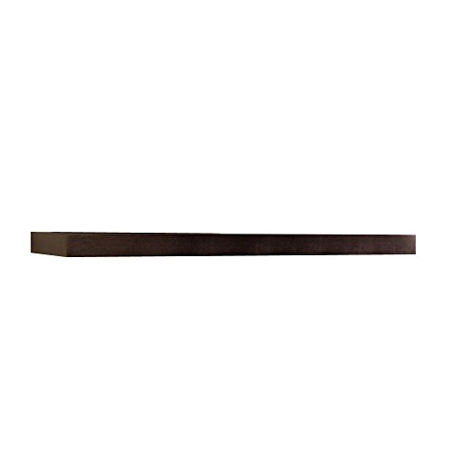 InPlace Shelving 9084650 Floating Wall Mountable Shelf with Invisible Brackets, Espresso, 48-Inch Wide by 10-Inch Deep by 2-Inch High ()