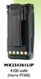 Li-Po Repl. Battery for: Harris / P5300 Series / P5350 / P5370 / P5400 / P5450 / P5470 / P5500 / P5550 / P5570 / P7300 / P7350 / P7370 / XG25P / XG75P, 4100 mAh , w/Belt Clip, Repl. BT-023406-003 / BT-023406-005 / BT-023436-001 (P5500 Series)