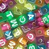 Plastic Alphabet Beads Transparent Colors 7mm Cubes (320pcs)