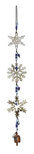 Snowflakes Falling Glass Beads and Bells 27 in Long Wind Chimes with Nana Bell