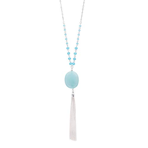 CONCISE ROYAL Light Blue Fringe Tassel Pendant Long Necklaces for Women Girls