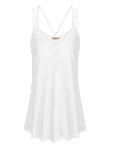 (Cyanstyle Womens Camisoles and Tanks V Neck Fowly Swing Tunic Tops Spaghetti Strap Casual Summer Stretch Beach Relax Fit Fashion Comfy Camis Sleeveless Shirts for Work Office White L)