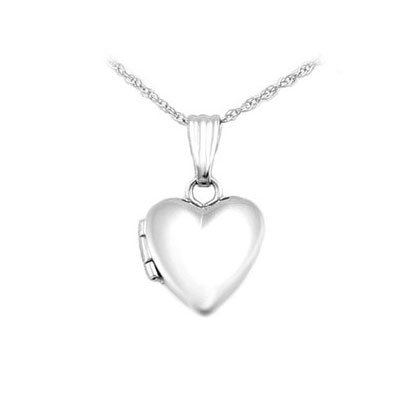 Baby And Toddler Jewelry - 13 Inches 14K White Gold Heart Locket Necklace by Loveivy