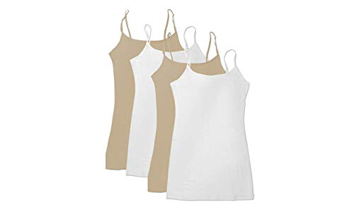 4 Pack Active Basic Women's Basic Tank Top (White/White/Khaki/Khaki) ()