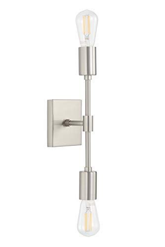 Berbella 2 Light Bathroom Wall Sconce | Brushed Nickel Hallway Wall Light with LED Bulbs -