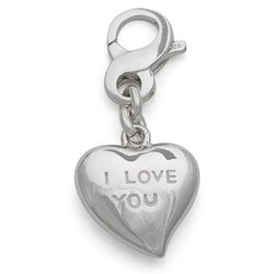 I Love You Heart Charm, Sterling Silver