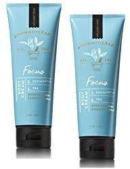 - Bath and Body Works 2 Pack Aromatherapy Focus Eucalyptus & Tea Body Cream. 8 Oz.