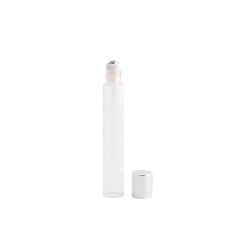(12pc Slim Roll-On (1/3 oz) 10ml Clear Glass with Stainless Steel Roller and Silver)
