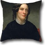 Oil Painting Alanson Fisher - Harriet Beecher Stowe Pillow Shams 20 X 20 Inch / 50 By 50 Cm Gift Or Decor For Gf,him,valentine,drawing Room,club,kids Girls - Both Sides - Embroidered Boudoir Sham