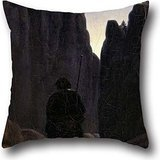 Oil Painting Carl Gustav Carus - Pilger Im Felsental Throw Cushion Covers 18 X 18 Inches / 45 By 45 Cm For Sofa,office,play Room,husband,couch,relatives With Twin Sides
