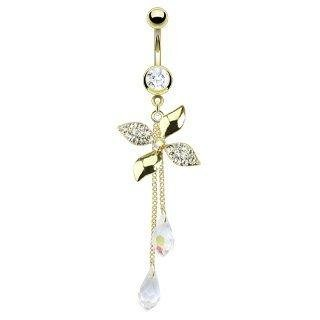 Body Accentz Belly Button Ring Gold IP Surgical Steel Multi Paved CZ Flower Swirl with Chandelier Crystalline Navel Ring Dangle Body Jewelry Dangle 14g