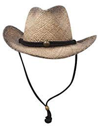 (MG Tea Stained Raffia Straw Cowboy Hat - Tan with tint of black)