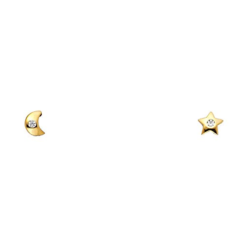 14k Yellow Gold Moon and Star Stud Earrings with Screw Back (Yellow Gold 14k Studs Star)