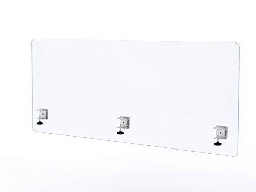 """VaRoom Privacy Partition, Frosted Acrylic Clamp-on Desk Divider – 60"""" W x 24""""H Privacy Desk Mounted Cubicle Panel by VaRoom (Image #2)"""