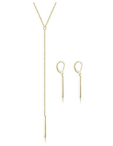 ORAZIO Bar Necklace Earrings for Women Stainless Steel Stick Drop Y Lariat Necklace Leverback Dangle Earrings Minimalist Jewelry Set Gold Tone ()