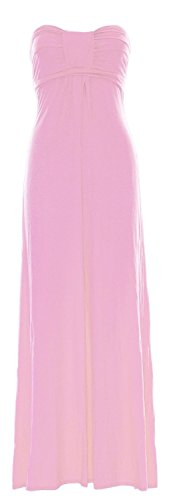 Womens Pink Crazy Bow Girls Bandeau Boobtube Long Baby Maxi Knot Dress Front 5ArPqxwA1