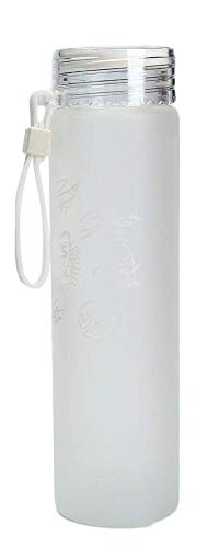 Sport Do 12oz BTS Lemon Water Bottle - Bangtan Boys Summer Frosted Glass Cup Cap with Silicon Loop Summer Girls