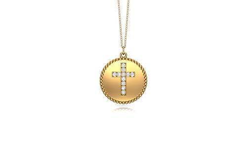 Noray Designs 14K Yellow Gold Diamond (0.08 Ct, G-H Color, SI2-I1 Clarity) Cross Disc Pendant, 18