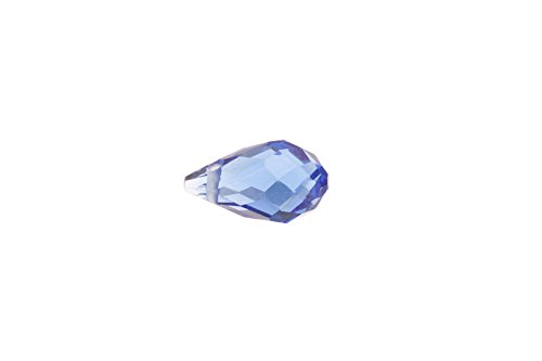 Sapphire Faceted Briolette Bead (Sapphire faceted briolette drop crystal beads top-drilled 8x13mm)