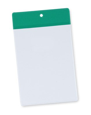 4'' x 6'' Non-Glare Vinyl Tag Holder with Green Flap and Hang Hole (8 Gauge) (50 Tag Holders) - AB-99-6-02G