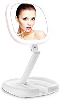 Lighted Makeup Mirror, Beautifive Double Sided Magnifying Mirror, Vanity Mirror with Lights, Smart Design with Brightness&Angle&Height Adjustability, Folding Compact Mirror, LED Mirror for Travel (Best Lighted Magnifying Mirror)