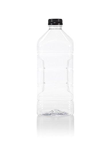 ((6) 64 oz. Clear Food Grade Plastic Juice Bottles with Tamper Evident Black Caps 6/pack (64 oz, Black Lid))