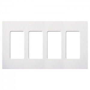 - Lutron CW-4-WH Claro Screwless Wall Plate 4-Gang Decora Style Gloss White-2PK