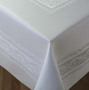 Thomas Ferguson Fine Scroll White Linen Double Damask Rectangular Tablecloth 72in x 126in (83cm x 320cm) by Thomas Ferguson Irish Linen
