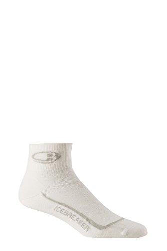 Icebreaker Men's Run+ Ultra Light Mini Socks, White/Silver/White, Large