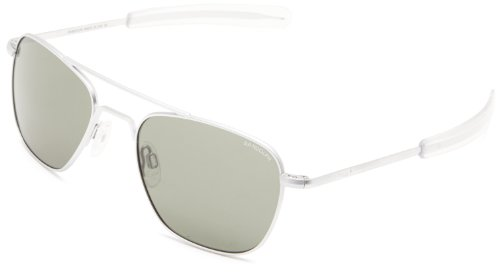 Randolph Aviator AF54663 Square Sunglasses, Matte Chrome, 55 - Randolph Sun Glasses