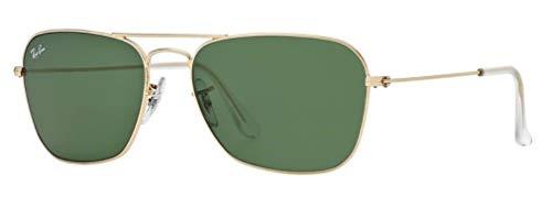 Ray-Ban RB3136 001 Caravan Sunglasses Gold Frame / Green Classic Lens ()