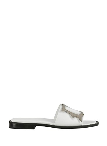 Dondup Women's WS147Y600D000 White Leather Sandals