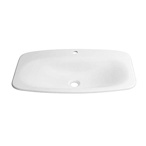 """27"""" Era Rectangular Ceramic Drop-in Sink with Single Faucet without Overflow in White LBA0221041"""
