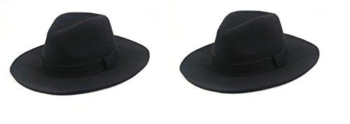 Classic Vintage Winter Wide Brim Fedora Hat 961SH (2 Pcs Black & Black)