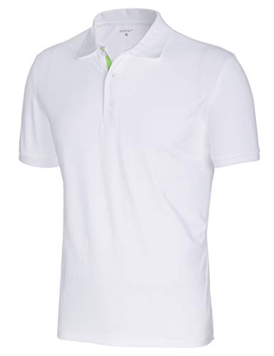 Innersy Men's Classic Fit Stretch All Cotton Solid Pique Polo Shirts (M, White)