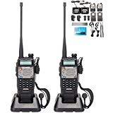Radio Dual Handheld (BaoFeng UV-5R Upgrade Version UV-5XP Extended Battery VHF UHF Two Way Radio 7.4v 8W Dual-band Walkie Talkie 2 Pack)