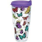 Tervis Tumbler Butterflies 24oz Wrap with Purple Travel Lid
