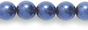Preciosa Ornela Imitation Round Glass Pearl, 6-mm, Dark Navy Blue, 100 -