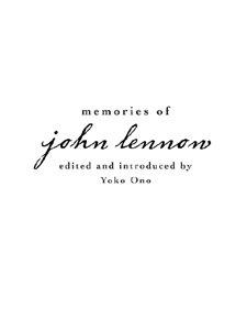Memories of john lennon kindle edition by yoko ono arts memories of john lennon by ono yoko fandeluxe Epub