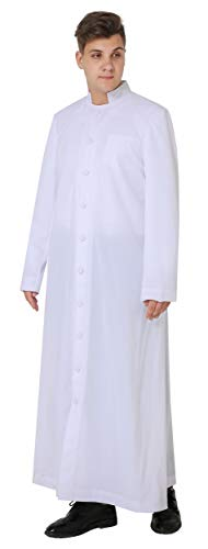 Ivyrobes Unisex Adults White Roman Pulpit(Clergy) Cassock ((5'3