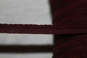 5 Yards Maroon Burgundy Faux Suede Braided Braid Lip Cord Piping Trim 1/4